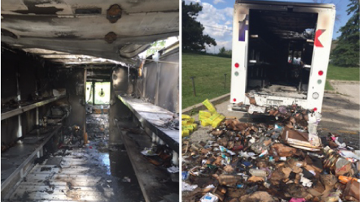 The damage resulting from a lithium-ion battery fire in a FedEx truck is show in these photos taken June, 2, 2016. Left: The fire damage to the FedEx truck and its contents. Right: The contents of the truck were removed by firefighters following the fire. Photos courtesy of FedEx.