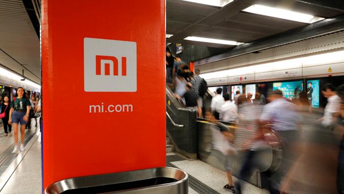 An advertisement for Xiaomi at a subway station in Hong Kong, July 9, 2018.